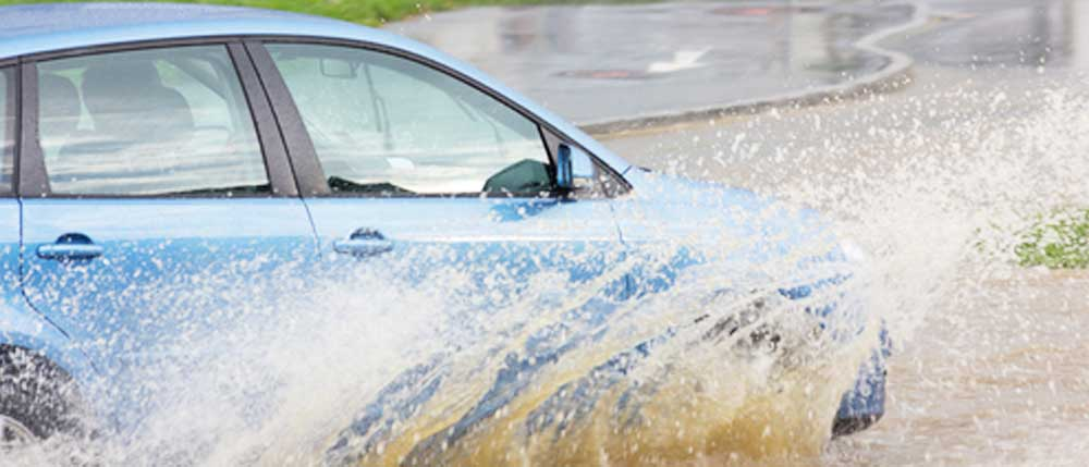 Hydroplaning on Wet Roads - Car
