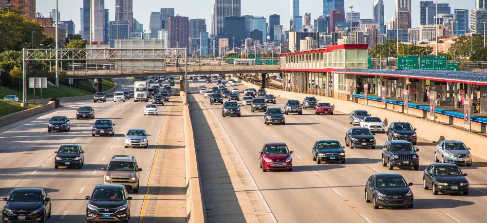 Rush hour traffic on Chicago interstate